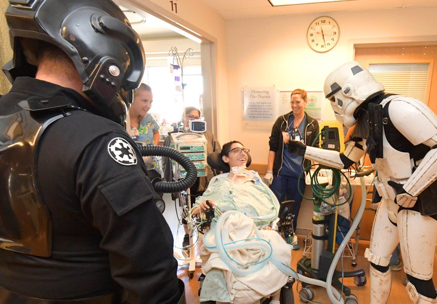 Star Wars characters paying a visit to Cottage Children's Medical Center